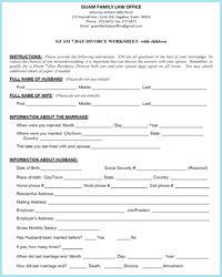 Printables Divorce Worksheet guam 7 day residency divorce worksheets with children worksheet